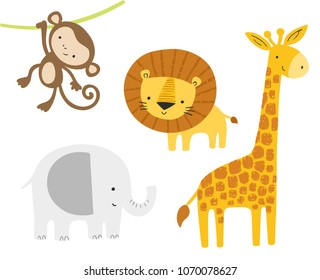 Cute jungle animals set. Vector cartoon baby lion, elephant, giraffe, monkey. Kids graphics, art, posters.