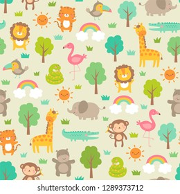 Cute jungle animals with trees and rainbows seamless pattern background