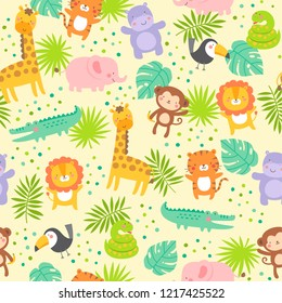 Cute jungle animals with tropical leaf seamless pattern background