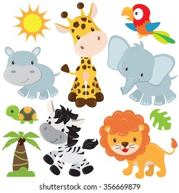 Cute jungle animals vector illustration