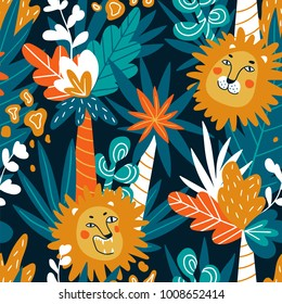 Cute jungle baby endless background. Vector seamless pattern with lions and tropical plants in bright colors.