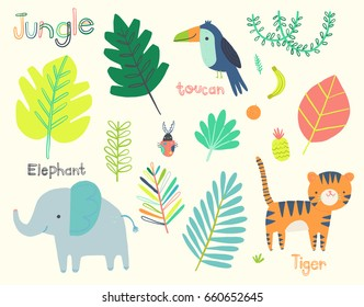 Cute Jungle Illustration Clip Art Collection