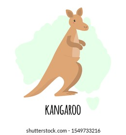 Cute kangaroo character with silhouette of Australian map isolated on white background. Vector illustration of australian animal, wild life and fauna.