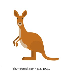 cute kangaroo in flat style on white background