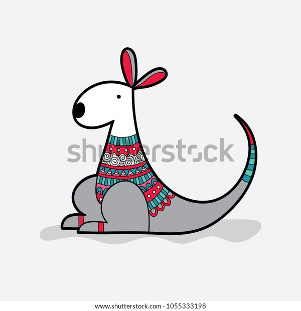 Cute kangaroo with a red and green multi-colour patterned jumper vector illustration on a pale background.