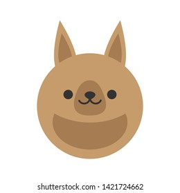Cute kangaroo round graphic vector icon. Brown kangaroo with pouch, animal head, face illustration. Isolated.