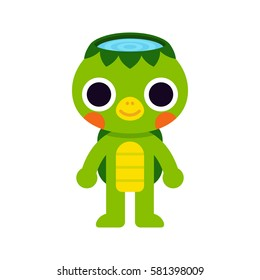 Cute Kappa, mythological Japanese monster drawing. Simple flat cartoon style, kawaii vector illustration.