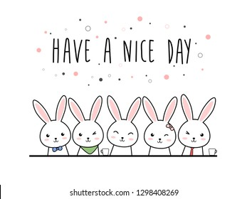 Cute kawaii adorable rabbit bunny cartoon doodle pastel color with have a nice day text wallpaper background for greeting card or poster banner vector eps10