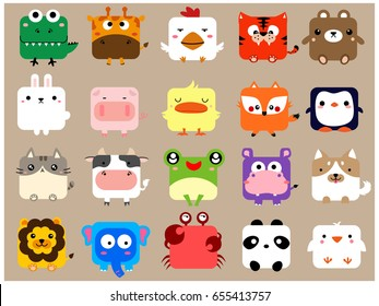 Cute Kawaii Animal icon face set