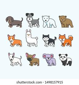 cute kawaii animal set vector