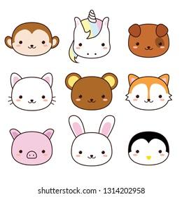 Cute Kawaii Animals Collection, Nine Set