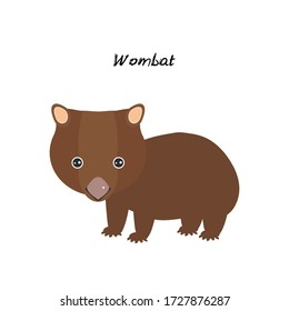 cute Kawaii Australian wombat, isolated on white background. Can be used for cards for preschool children games, learning words. Vector