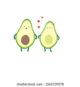 Cute kawaii avocado couple with hearts for Valentine's day. Vector illustration, avocado love, isolated on white background, hand drawn .