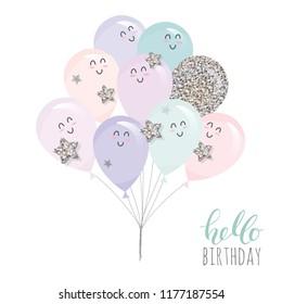 Cute kawaii balloons. For birthday, baby shower or holidays design. Vector