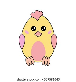 Cute, kawaii cartoon chicken on a white background. For your business, design, clothing, illustration