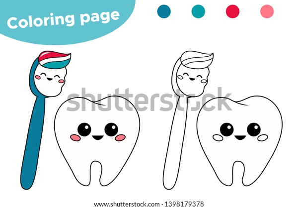 Cute Kawaii Cartoon Tooth Toothbrush Coloring Stock Vector