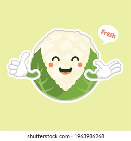 cute and kawaii cauliflower. Funny and healthy food. Vitamins contained in cauliflower. Food with cute face. Vector cartoon. healthy food, vegetables vector icon , vegetarian vegan concept