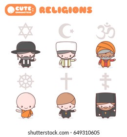 Cute kawaii characters set: People of different religions. Judaism Rabbi. Buddhism Monk. Hinduism Brahman. Catholicism Priest. Christianity Holy father. Islam Muslim. Religion vector symbols. Cartoon