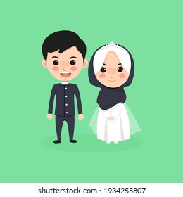 cute kawaii chibi couple muslim wedding character