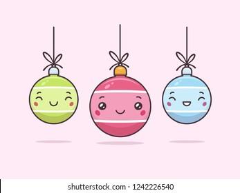 Cute kawaii Christmas baubles with faces vector cartoon illustration