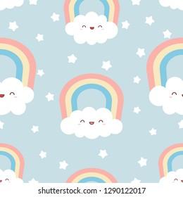 Cute kawaii clouds with rainbow and stars. Seamless Pattern, Cartoon Vector Illustration, Nursery Background for Kid.