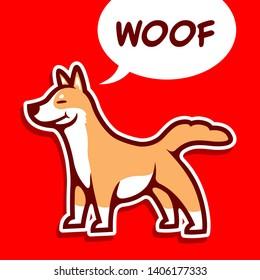 Cute kawaii dog of shiba inu making woof sound - Vector