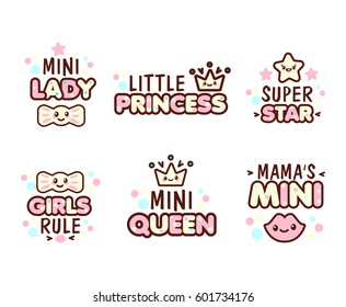 Cute Kawaii emoticons with text Mini Lady, Little Princess, Queen, for t-shirt print, vector style composition with lettering isolated on white