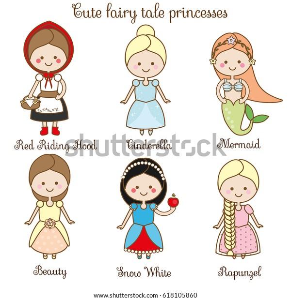 Immagine Vettoriale Stock 618105860 A Tema Cute Kawaii Fairy Tales