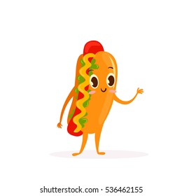 Cute Kawaii fast food character. Colorful cartoon food character with hot dog. Emoticon fast food funny element isolated on white background.