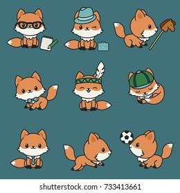 Cute kawaii foxes. Vector icons set