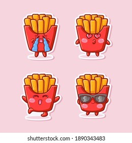 Cute and Kawaii French Fries Sticker Illustration Set With Various Activity and Expression (cry, kiss, happy, hooray, sunglasses) for mascot