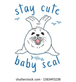 cute kawaii fur seal, stay cute slogan, isolated baby nerpa on white background with doodle elements, animal extinction problem, Red List, editable vector illustration for print, poster, card, banner