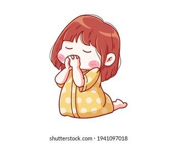 Cute and kawaii Girl Pray on Knee Before Sleep Chibi Illustration
