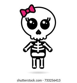 Cute kawaii girl skeleton isolated halloween concept