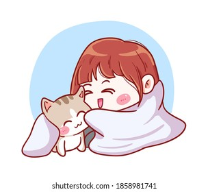 Cute and kawaii Girl Snuggle with Cat Under The Blanket because of winter Manga Chibi Illustration