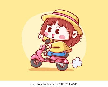 Cute and kawaii Girl With Straw Hat Riding Scooter for delivery manga chibi Illustration