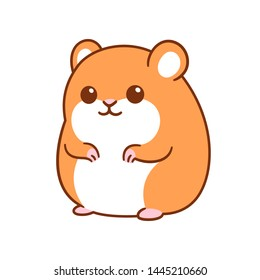 Cute kawaii hamster drawing, funny cartoon pet vector clip art illustration.