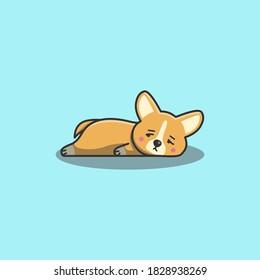 Cute Kawaii Hand Drawn Doodle Bored Lazy corgi dog