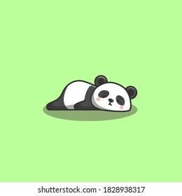 Cute Kawaii Hand Drawn Doodle Bored Lazy Panda
