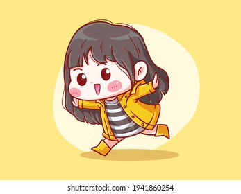 Cute and kawaii Happy Girl Wear Raincoat and Boots Manga Chibi Illustration