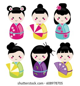 Cute kawaii kokeshi set. Traditional japanese dolls. Stickers, design elements, icons. Vector set