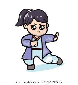 Cute kawaii Kung fu girl mascot design illustration