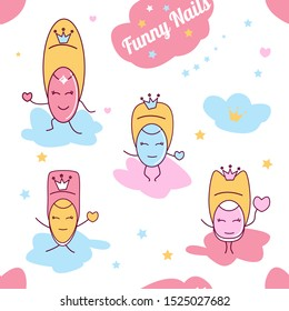 Cute kawaii little fingers cartoon, vector seamless pattern illustration Kids fabric and greeting cards.