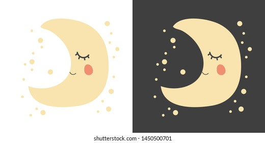 Cute kawaii little moon sleeping with stars