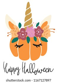 Cute kawaii little pumpkin head with unicorn decoration vector art. Flat children scandinavian hand drawn illustration. Graphic design card print. Happy Halloween lettering.