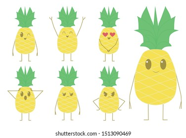 Cute Kawaii pineapple, different expressions. fruit pineapple-Vector