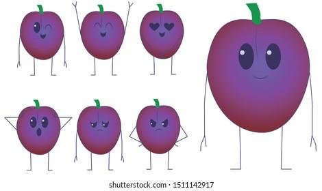 Cute Kawaii plum, different expressions. fruit plum-Vector