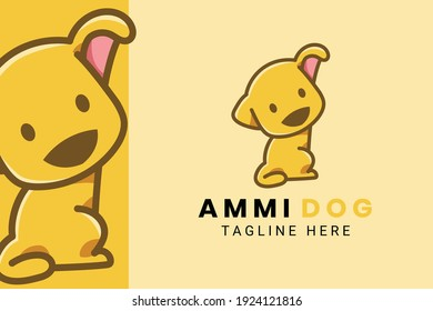 Cute Kawaii Puppy Dog Mascot Cartoon Logo Design Icon Illustration Character Hand Drawn. Suitable for every category of business, company, brand like pet store or pet shop, toys, food, and many more
