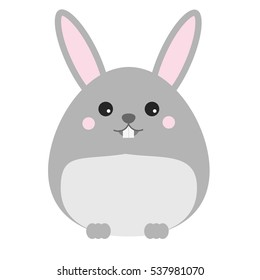 Cute kawaii rabbit, bunny, hare character. Children style, vector illustration. Sticker, design element for kids books