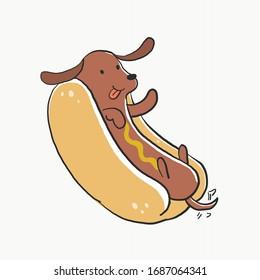 Cute kawaii real hot dog for t-shirt  graphic. A dog as a sausage in hotdog bun. Vector illustration.
